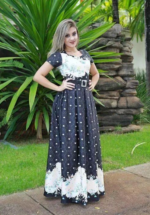 Vestido Longo Letícia Preto Barrado com Cinto Moda Evangélica