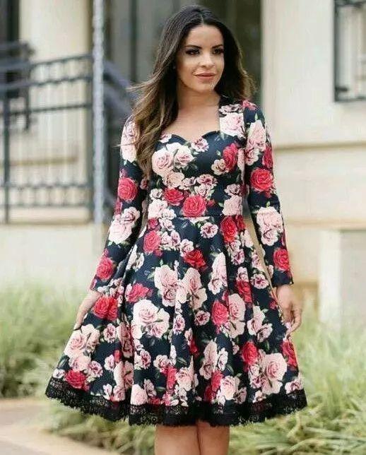 369335f16 Vestido Midi Floral Manga Longa - Moda Evangélica - Flor de Amêndoa