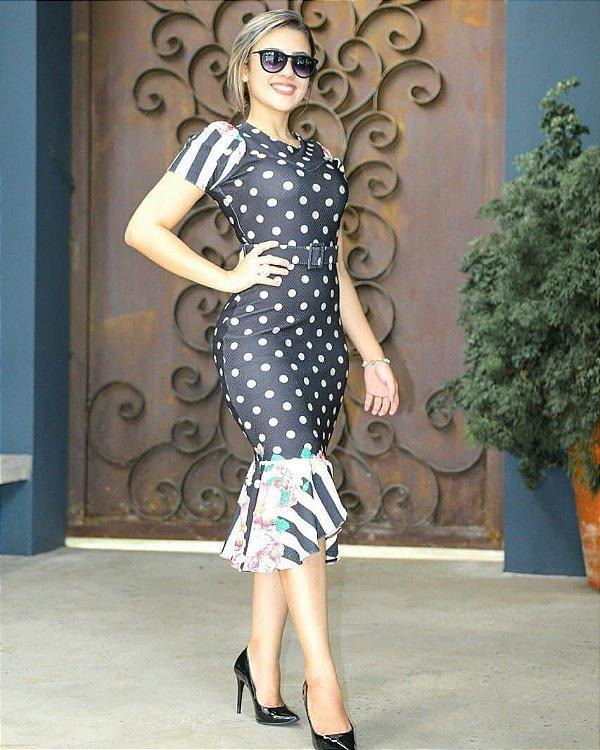 Vestido Tubinho Peplum Preto com Bolinhas Moda Evangélica