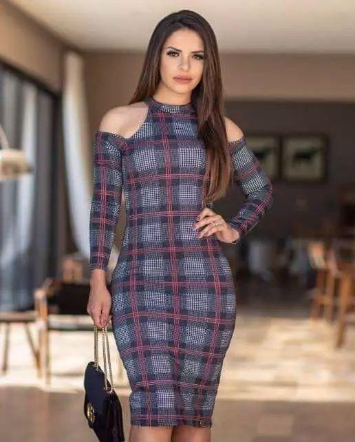 Vestido Tubinho Xadrez Bianca Moda Evangélica