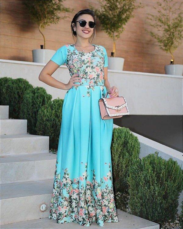Vestido Longo Azul Pastel com Floral Moda Evangélica