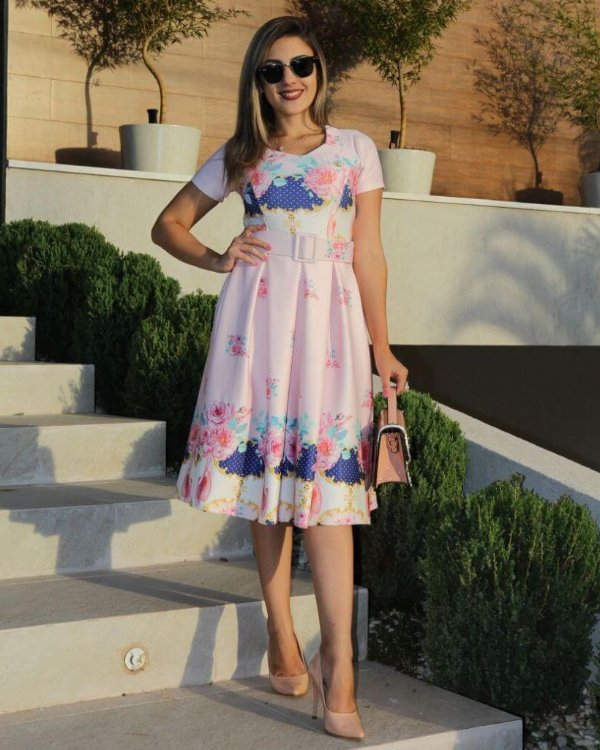 Vestido Midi Catarina Dress Rosa com Cinto Moda Evangélica