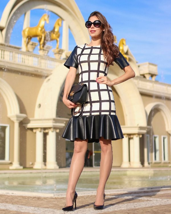 Vestido Peplum Maíra Xadrez Moda Evangélica