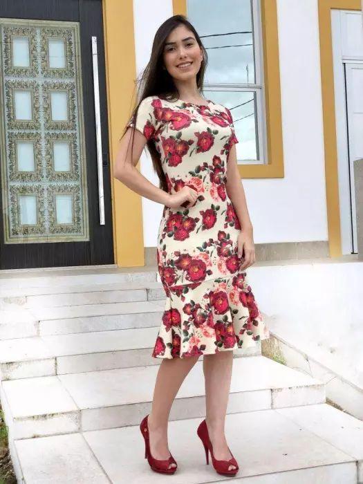 Vestido Peplum Flores Vermelhas