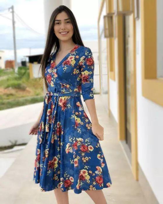 Vestido Midi Letícia Azul floral Moda Evangélica