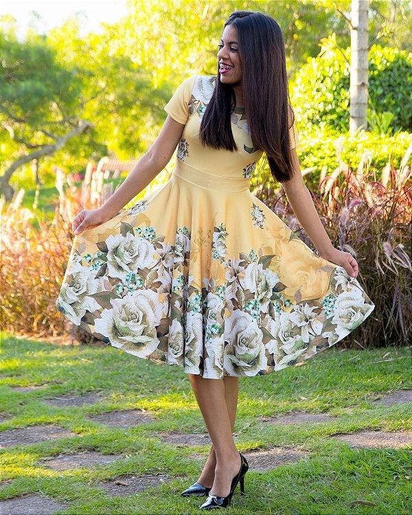 Vestido Godê Maísa Amarelo Moda Evangélica