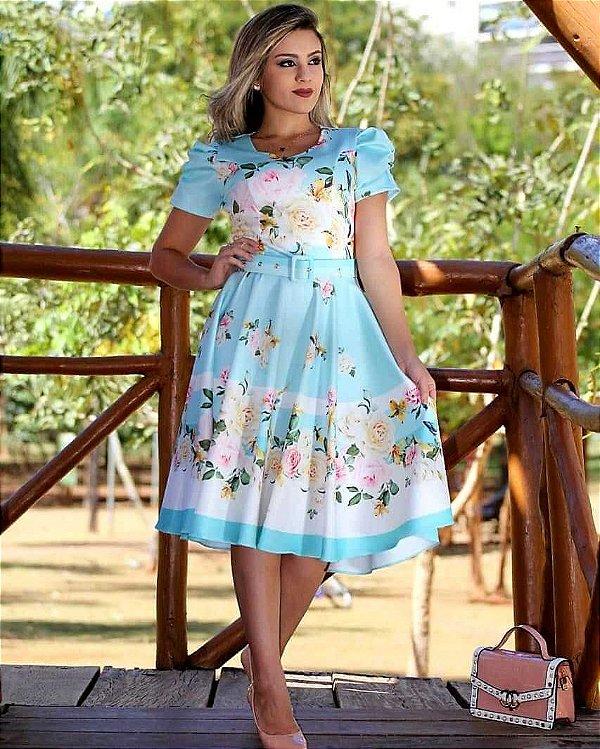 Vestido Godê Azul Floral Moda Evangélica