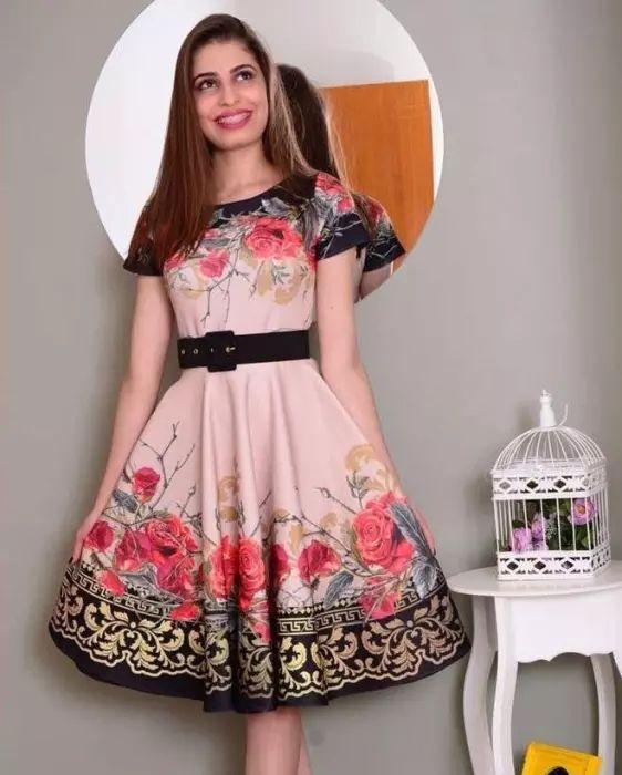eaeeee121 Vestido Godê Rosas Vermelhas - Moda Evangélica - Flor de Amêndoa