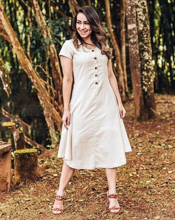 Vestido Midi Botões Bege Linho Moda Evangélica