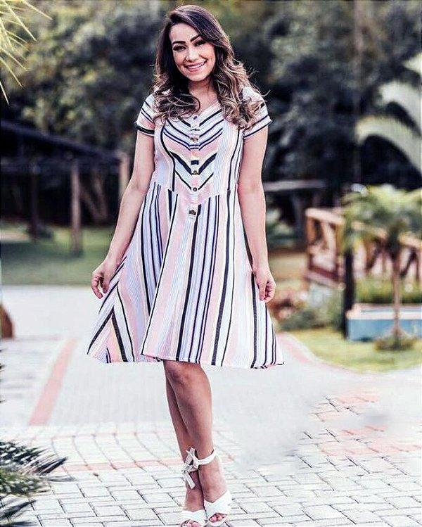 Vestido Rosa Listrado com Recortes Linho Moda Evangélica