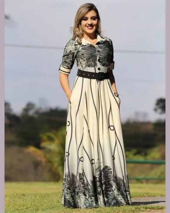 Vestido Longo Botões e Bolsinho Crepe de Malha Moda Evangélica