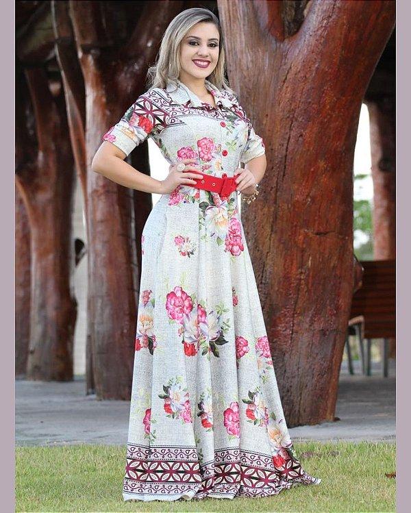 Vestido Longo Floral Botões Crepe de Malha Moda Evangélica