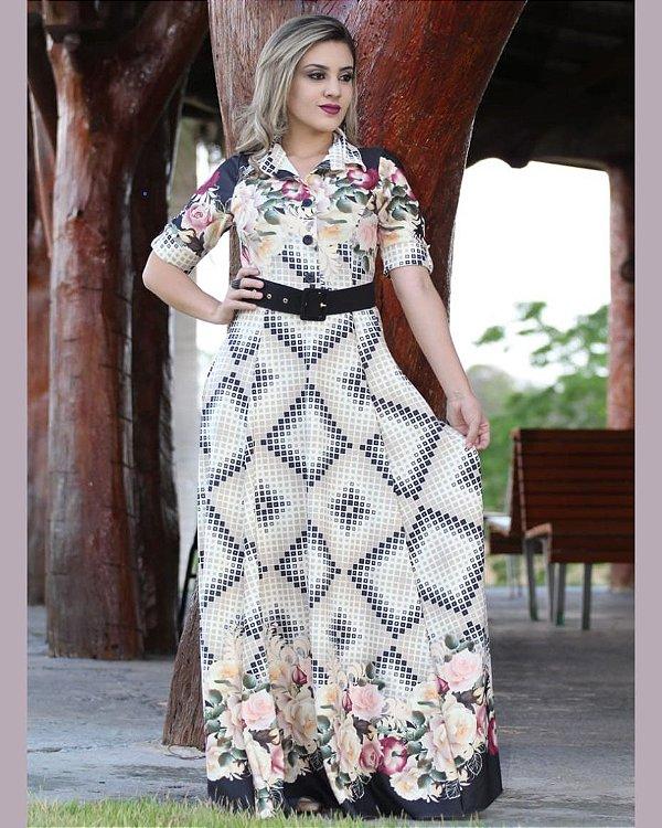 Vestido Longo Geométrico Crepe de Malha Moda Evangélica