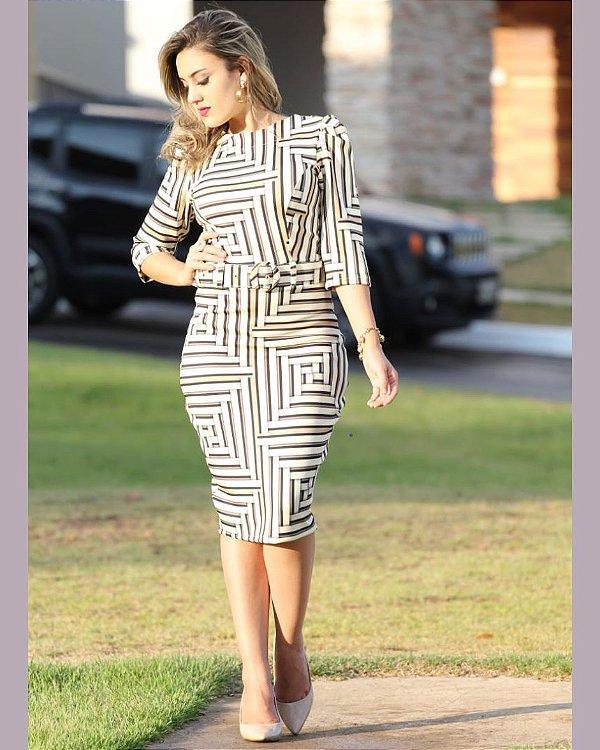 Vestido Tubinho Dress Geométrico Moda Evangélica