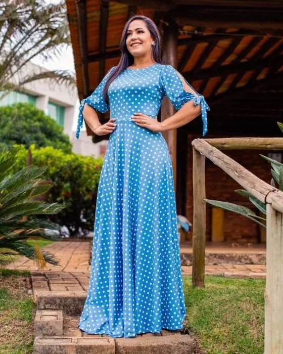 Vestido Longo Renata Azul Poá Moda Evangélica