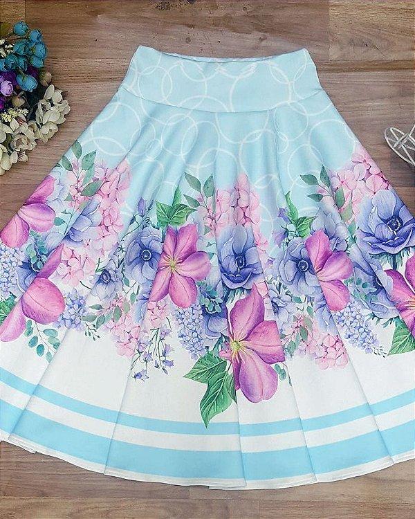 Saia Godê de Malha Azul Floral Moda Evangélica
