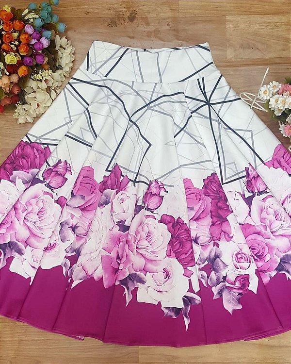 Saia Midi Rosas Moda Evangélica