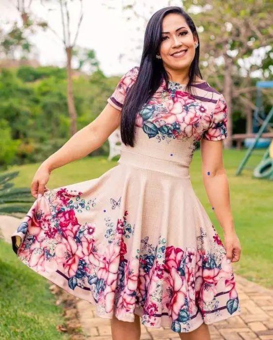 Vestido Godê Luana Floral Moda Evangélica