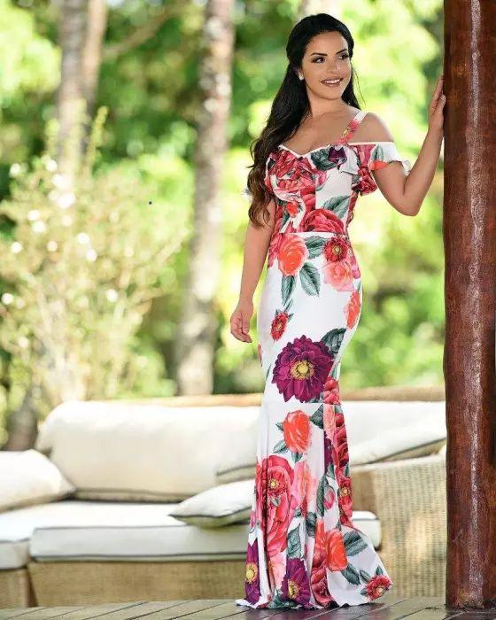 Vestido Longo Paola Flores Moda Evangélica