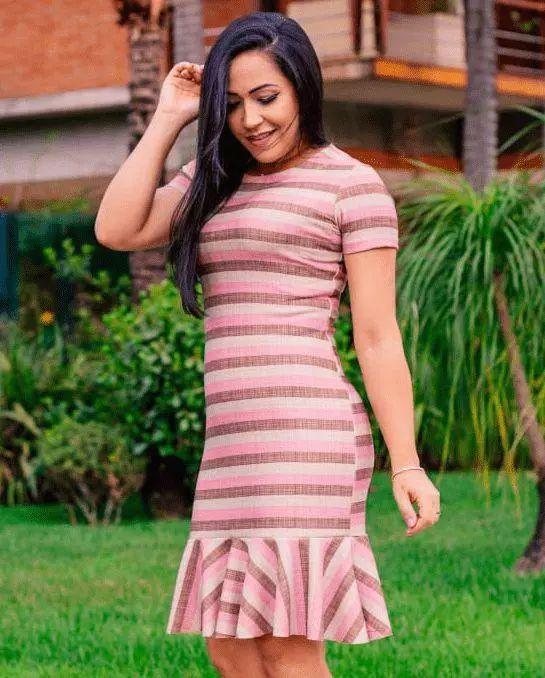 Vestido peplum Rosê Moda Evangélica