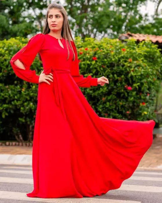 Vestido Longo Vermelho Moda Evangélica