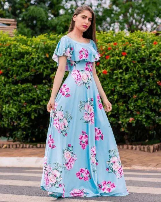 dbaaacd305 Vestido Longo Ciganinha Azul Claro - Moda Evangélica - Flor de Amêndoa