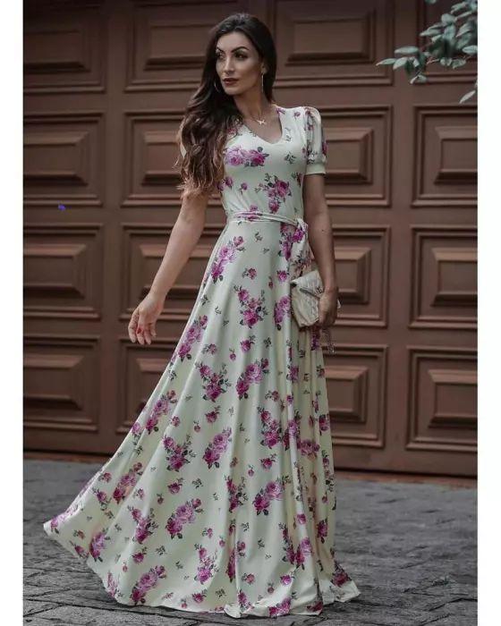 ed79ee046c Vestido Longo Rosas com Amarração - Moda Evangélica - Flor de Amêndoa