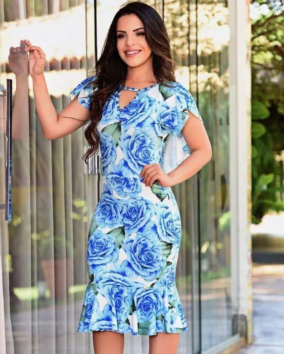 Vestido Tubinho Floral Azul com Apliques