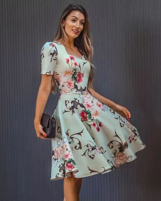 Vestido Midi Floral Godê Princesa Moda Evangélica