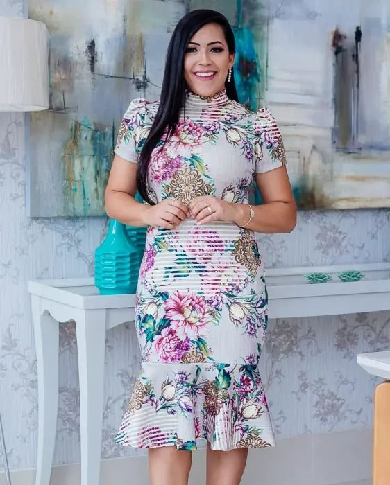 Vestido Peplum Gola Alta floral