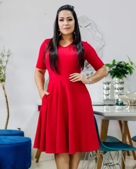 Vestido Godê Vermelho com Bolsinho