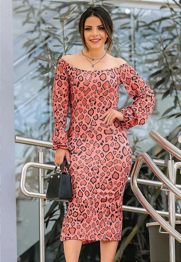 Vestido Tubinho Estampa Animal Print Moda Evangélica