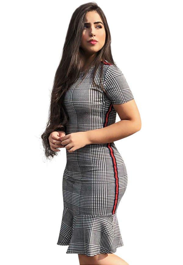 Vestido Peplum Xadrez Piquet Moda Evangélica