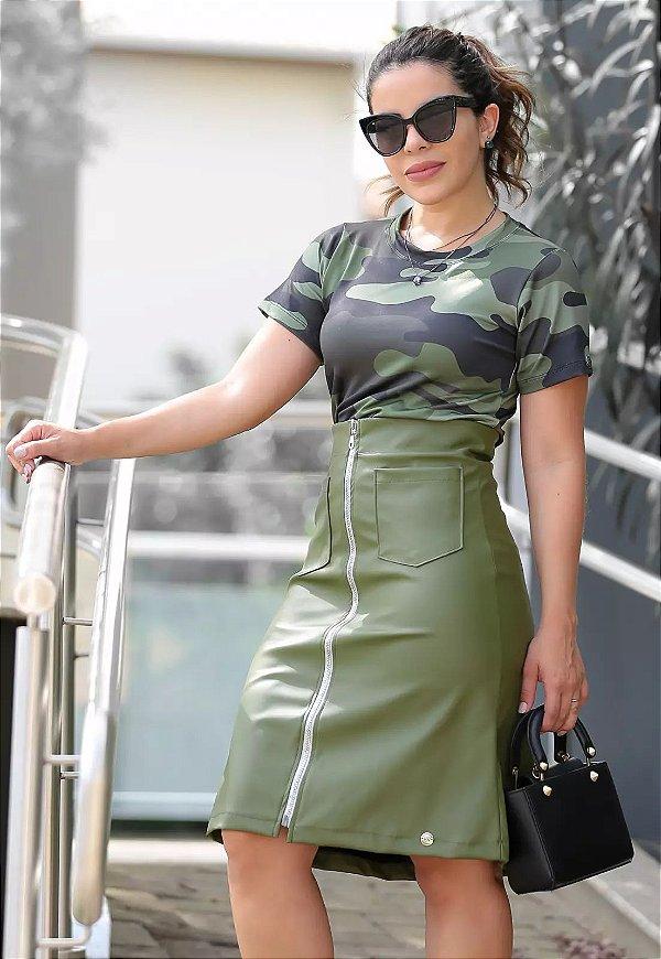Conjunto Blusa e Saia Verde Militar Moda Evangélica