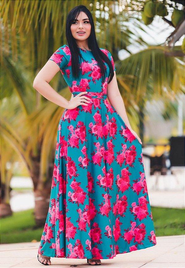 Vestido Longo Florido Suplex