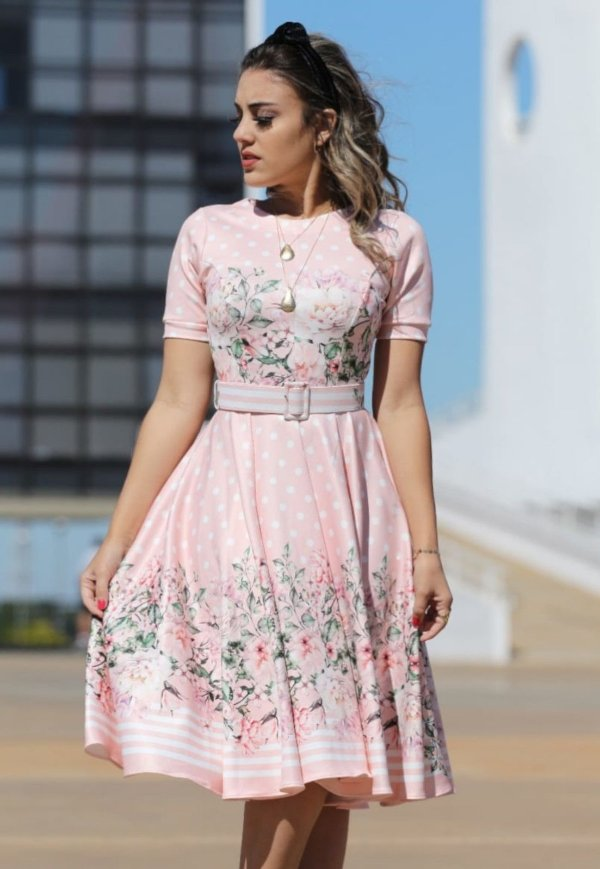 Vestido Midi Poá com Floral