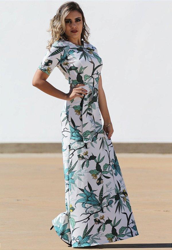 Vestido Longo Floral Faixa amarração
