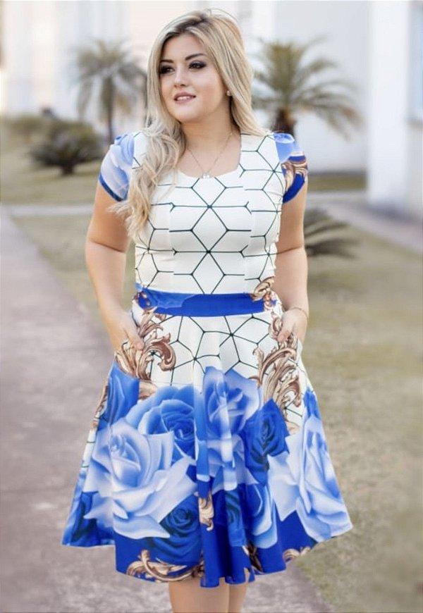 Vestido Godê Suplex Premium Barrado