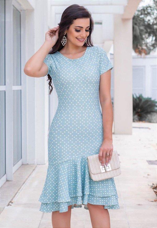Vestido Peplum Azul Poá com Babado