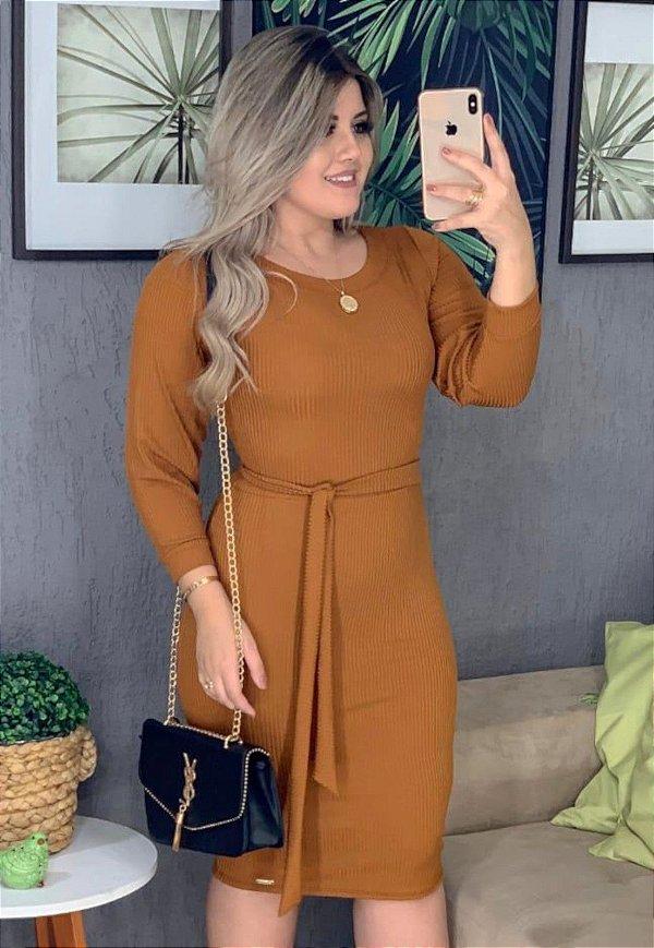 Vestido Tubinho Marrom Malha Canelada