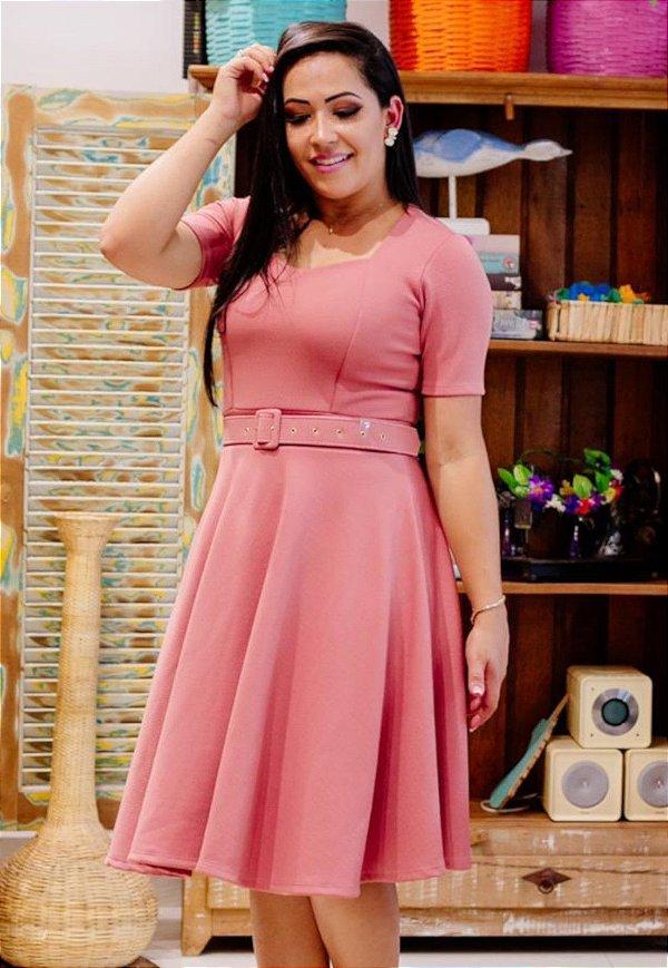 Vestido Midi Godê Rosé com Cinto