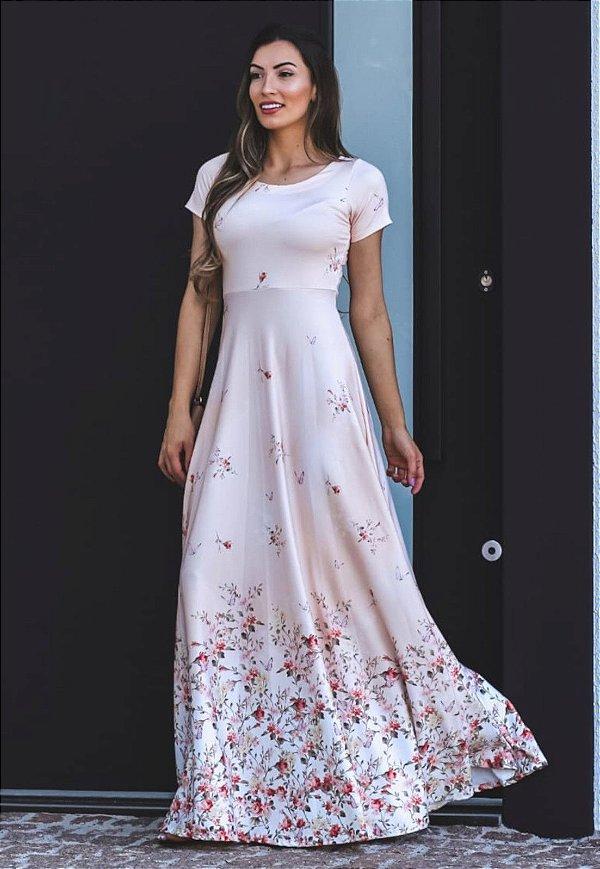 Vestido Longo Suplex Barrado Floral