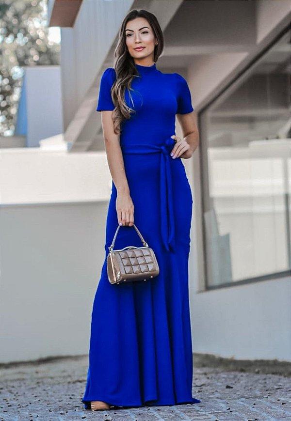 Vestido Longo Barrado Sereia Azul Royal