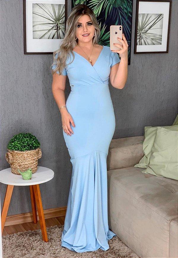 Vestido Longo Sereia Azul Suplex Decote V