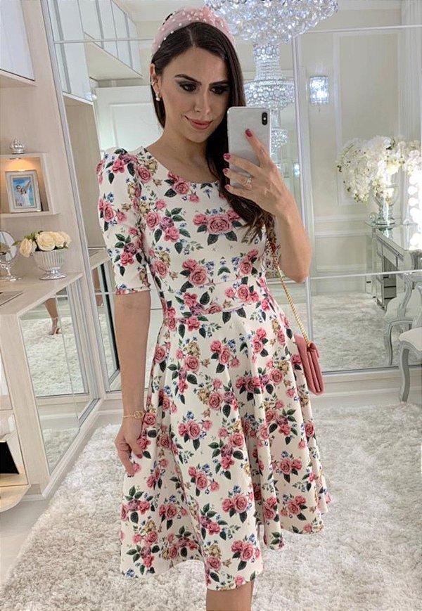 Vestido Midi Florido Manga Princesinha