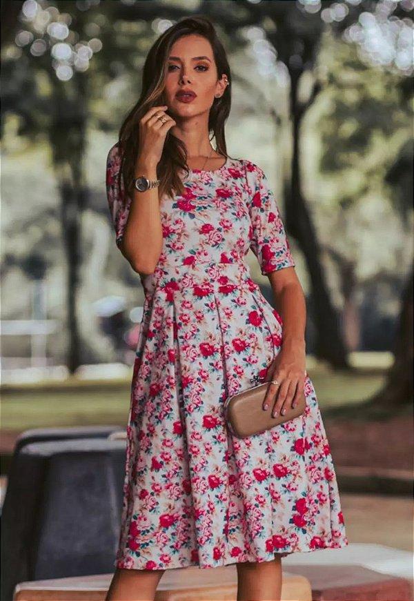 Vestido Midi com pregas Florido