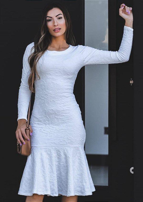 Vestido Tubinho Peplum Jacar Branco