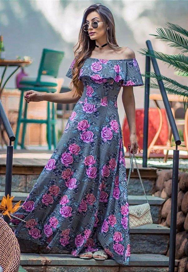 Vestido Longo Suplex Xadrez com Rosas Babado