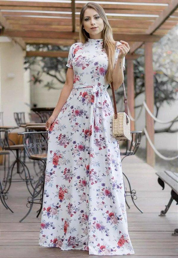Vestido Longo Florido Suplex Gola Alta