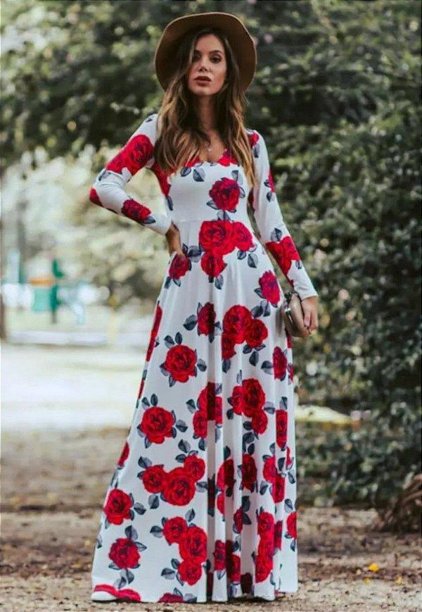 Vestido Longo Rosas Suplex Manga Longa
